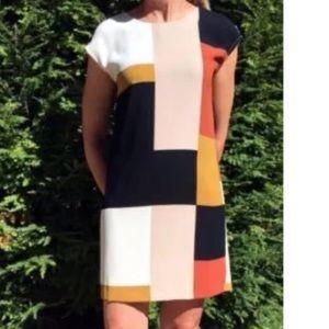 Ann Taylor LOFT Color Block Shift Dress Tan Rust
